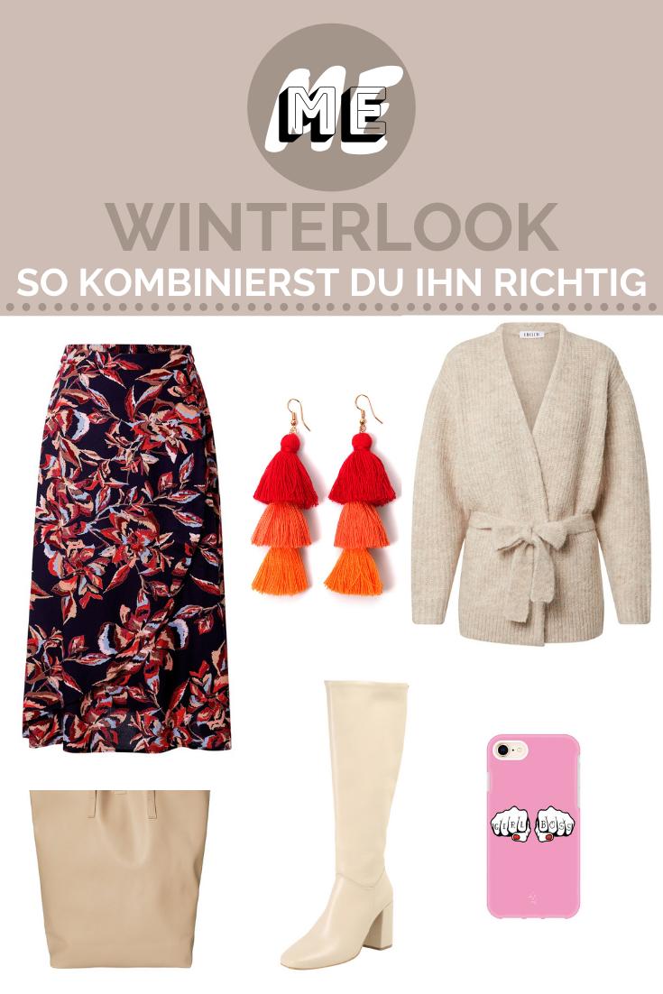 Collage mit Cardigan, Rock, Stiefeln, Ohrringen, einer Handyhülle und einer Tasche