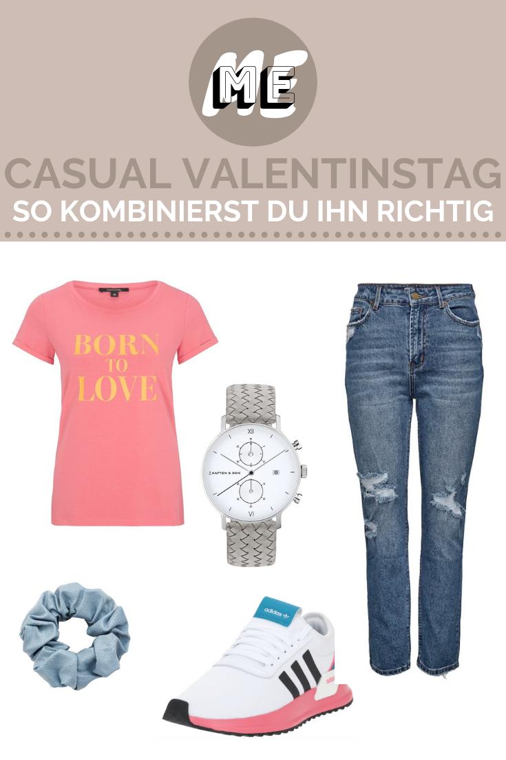 Casual Valentinstagslook in Form einer Collage mit einem Shirt, Jeans, einer Uhr, einem Scrunchie und Sneakern.