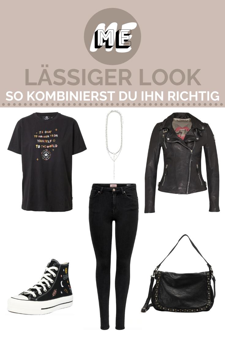 Collage mit einem T-shirt, einer Hose, einer Lederjacke, Converse Schuhen, einer Ledertasche und einer Kette zum Thema lässiger Look.