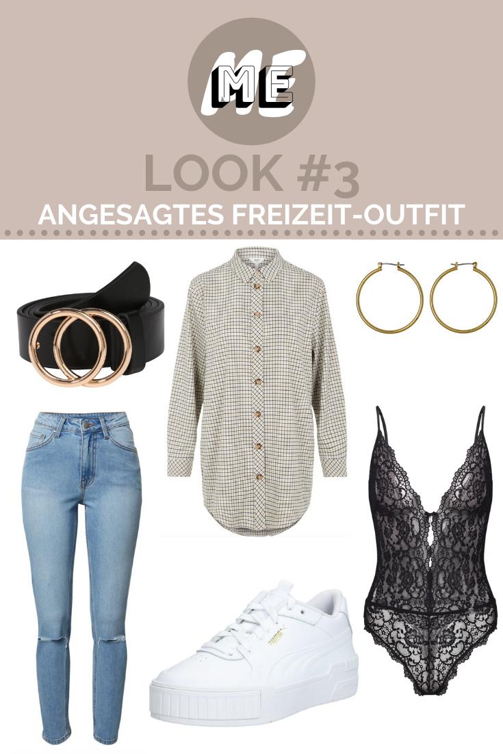 Collage mit karierter Oversized-Bluse, Mom-Jeans, Gürtel, Spitzenbody und Sneakern.