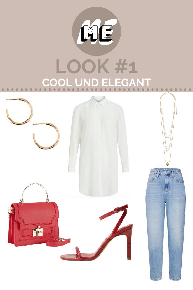 Collage mit weißer Oversized-Bluse, Mom-Jeans, roten High-Heels und Handtasche und goldenen Schmuck.