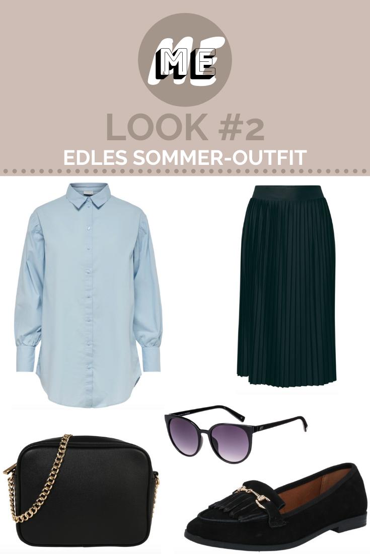Collage mit hellblauer Oversized-Bluse, einem schwarzen Plisseerock, Sonnenbrille, Slippern und einer Handtasche.