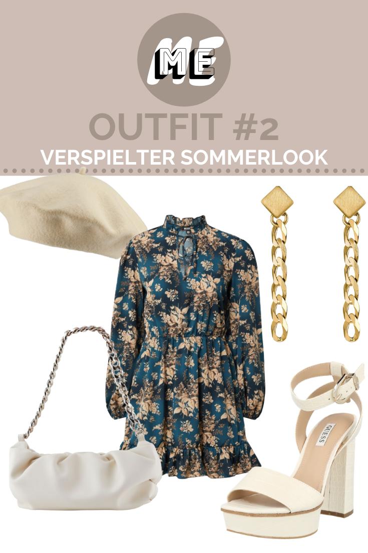 Collage für Damen Sandalen mit weißen Sandaletten, einer weißen tasche und einem Gürtel sowie goldenen Ohrringen und einem grünen Blusenkleid.