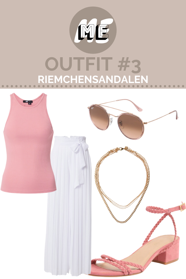 Collage für Damen Sandalen mit rosa Riemchensandalen, einem rosa Top, einer weißen Marlenehose, einer Sonnenbrille und Kette.