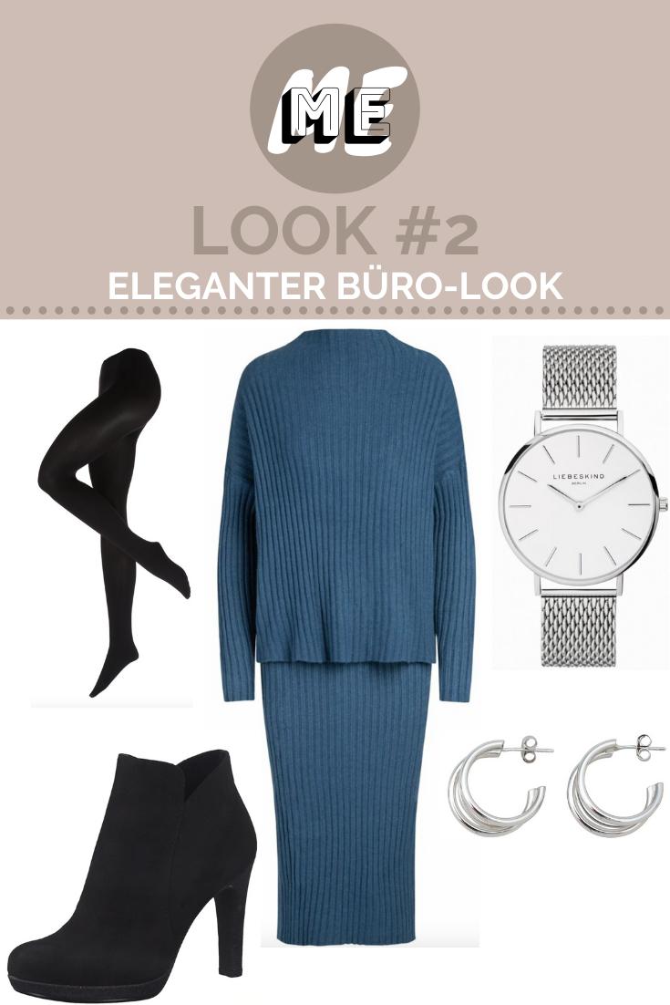 Ein blauer Zweiteiler aus Strick, schwarze Strumpfhose und Stiefeletten, eine silberne Uhr und Ohrringe.