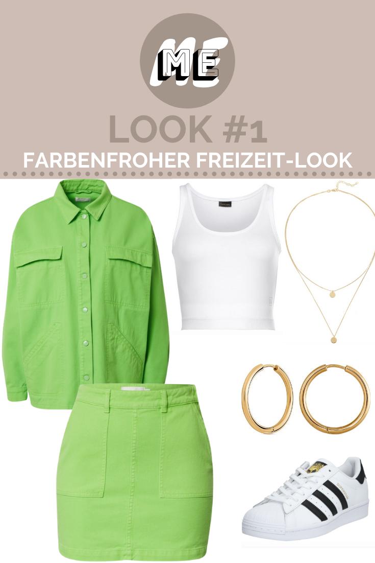 Grüner Zweiteiler aus Jacke und Rock mit weißen Sneakern, weißem Shirt und goldenen Schmuck.