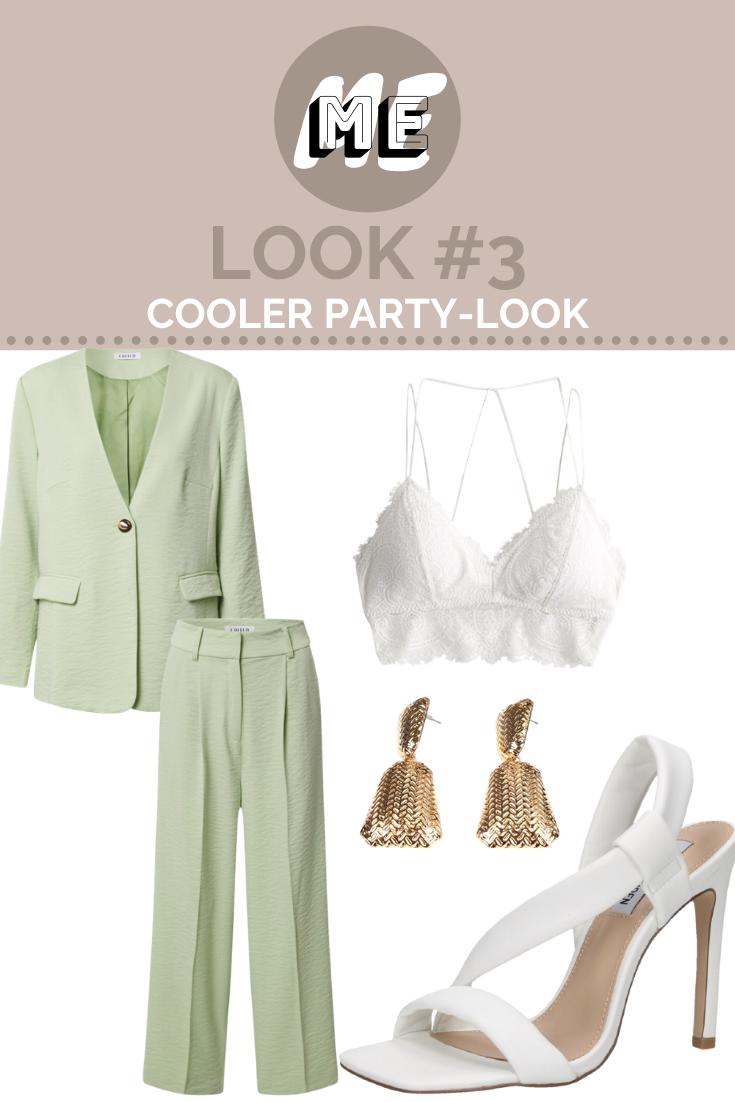 Collage mit einem mintgrünen Zweiteiler, einem weißen Bralette, goldenen Ohrringen und einer weißen Sandaletten.